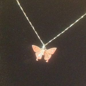 """Jewelry - Butterfly Necklace 16"""" SS - .925"""